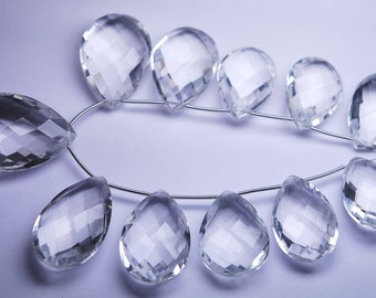 11 pcs,New Rock Crystal Quartz Faceted Pear Shape Briolettes,20x30mm Long,