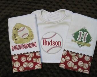 BATTER UP! Personalized Baby Boy Baseball Burp Cloths and Bib Set