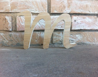 6 to 10 Inch Unfinished Wooden Letter - lower case m