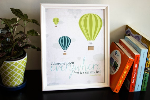 Travel Nursery Print Travel Nursery Decor Travel Quote Hot Air