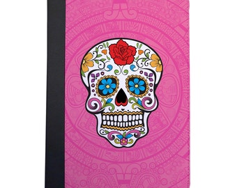 Mexican Day Of The Dead Sugar Skull Folio Case. Choose Pink, Orange or Purple For The iPad Mini