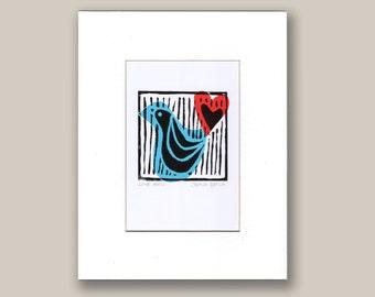 Love Bird Original Hand Printed Lino Cut Print Collage