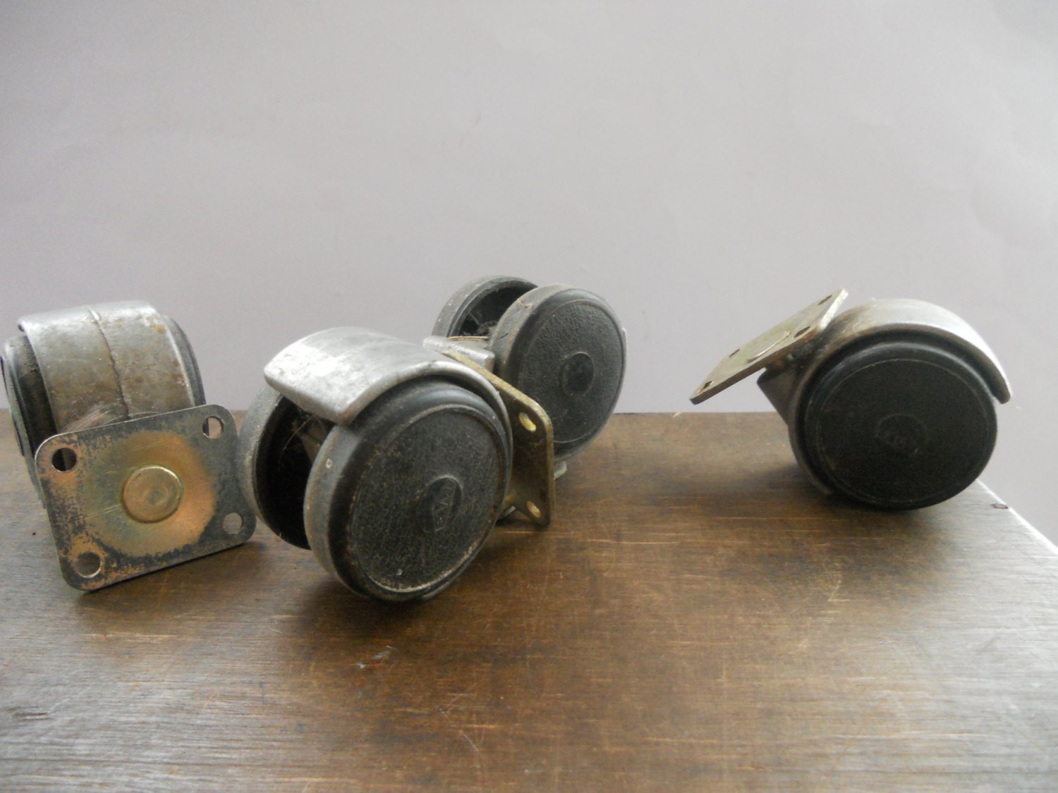 Vintage Soviet Metal Wheels Furniture Wheels Set Of 4 Casters