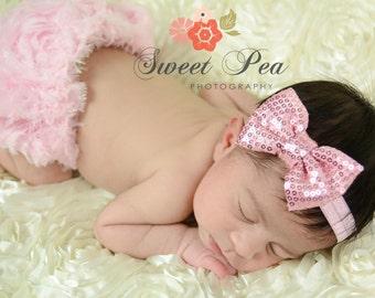 Newborn Headband..Baby Girl Headband..Pink Bow Headband..Baby Headband..Toddler Headband..Infant Headband