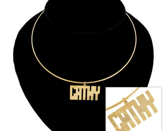 Necklace Choker Bangle Name Debbie Cathy Gold Tone Vintage 70s