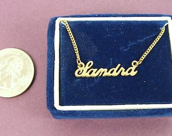 """Script Name Sandra Charm Pendant Gold Tone Necklace 16"""" Vintage 70s"""