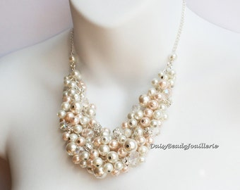 Pearl Cluster Necklace, Bridesmaids Gifts, Ivory and Light Pink Necklace, Statement Necklace, Chunky Necklace, Bridal Necklace, Wedding