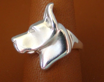 Small Sterling Silver Great Dane Head Study Ring