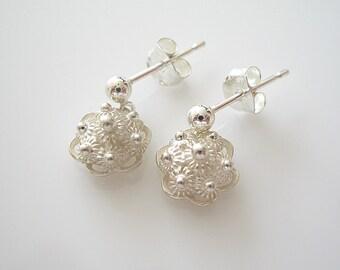 Traditional Dutch Zeeuwse knop Earrings, Sterling Silver, Dutch Jewelry, Holland