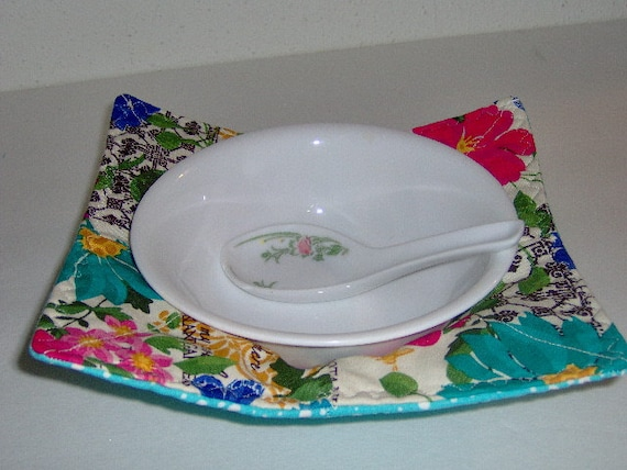 Microwave bowl cozy tealpink and yellow floral by pleasingtodeye
