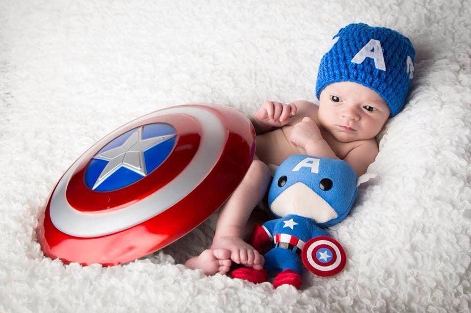 Captain America inspired crochet hat Captain America inspired