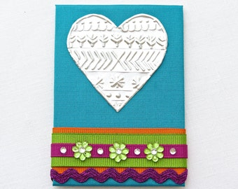 Embossed Metal Heart, Refrigerator Art Magnet, Mixed Media ACEO