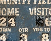 Vintage Football Scoreboard Canvas / Print wall art in blue by Aaron Christensen. For football players, fans and future allstars