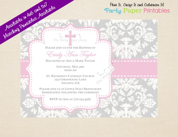 Fan image with printable baptism invitations