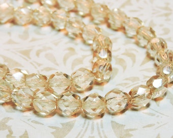 SALE 20% OFF! 25 Champagne Luster 6mm transparent round faceted Czech glass fire polish beads