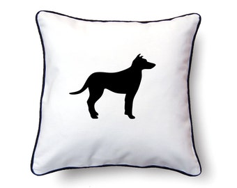 Smooth Collie Pillow 18x18 - Smooth Collie Silhouette Pillow - Personalized Name or Text Optional