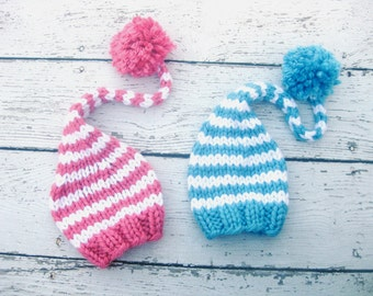 Blue Or Pink and White Gnome Elf Baby Hat Size Newborn  Knitted Baby Hat  Photo Prop Twins