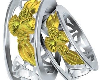 Wedding rings for beautiful women Barn owl wedding ring