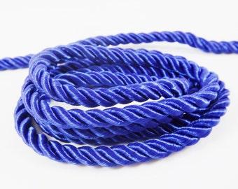 Royal Blue 5mm Twisted Rayon Satin Rope Silk Braid Cord - 3 Ply Twist - 1 meters - 1.09 Yards