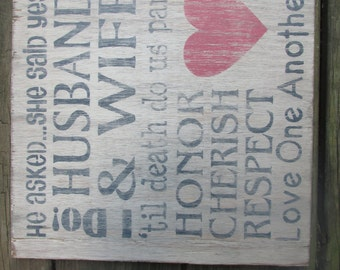 Wedding sign, hand painted  wooden sign, distressed sign, 12' x 12""