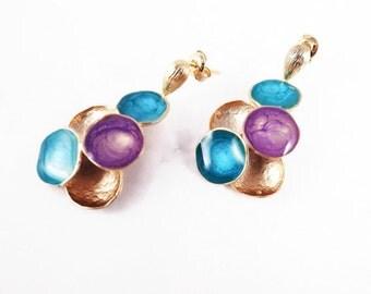 Bright blue earrings for women purple gold posts multicolored enamel jewelry earrings artisan earrings cascade statement