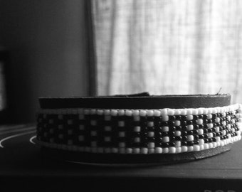 White and Black Polka Dots Leather/Beaded Bracelet