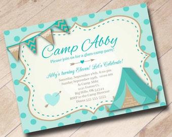 Glamping Girl Camping Birthday Invitation - Aqua
