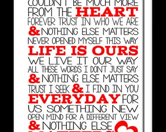 A3  Metallica Nothing else matters Print Typography song music lyrics for framing   ( Print Only )