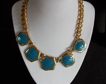 Vintage goldtone slate blue enamel choker necklace