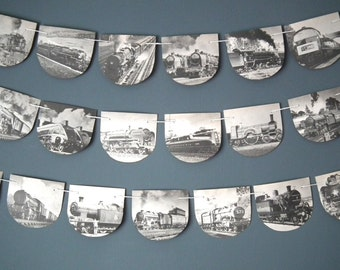 Vintage Train Bunting, Train Garland, Steam Train Decoration, Up Cycled, Black and White, Locomotive Bunting, Book Bunting, Train Decor