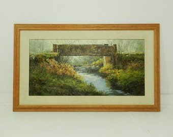 Original Oil Painting Wood Framed Old Bridge Impressionistic Landscape by Jean J Ranstrom