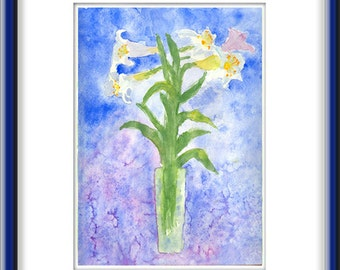 ORIGINAL   Abstract Watercolor  Painting    Lilies  Contemporary  Art   Modern  Flowers