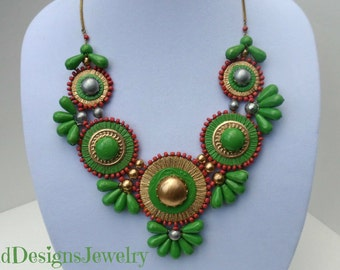 Kelly Green Bib Statement Necklace- Statement Jewelry- Green Big Chunky Bib Bubble Statement Necklace