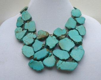 Turquoise Statement Necklace - Turquoise Bib Jewelry - Stone Statement Necklace