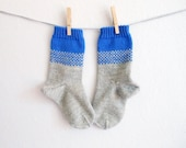 Grey wool socks with blue cuffs, hand knit socks, bed socks, women's or men's socks, hiking gear