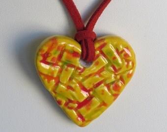 Ceramic Heart Pendant on a Red Micro Fiber Suede Cord