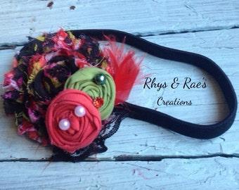 Black, Red, Green, Shabby Chiffon Flower & Rosette Fabric Flower Headband, Flower Hair Clip, Red Rosette, Girls Headband, Women's Headband