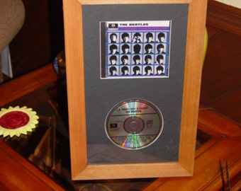 FREE SHIPPING Large CD display case solid cedar wood custom frame oak finish country rustic