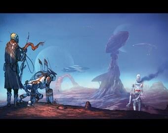 Sci fi mecha art print, 'scout'