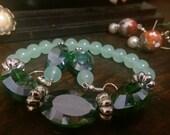 Green Bracelet Earrings Combo