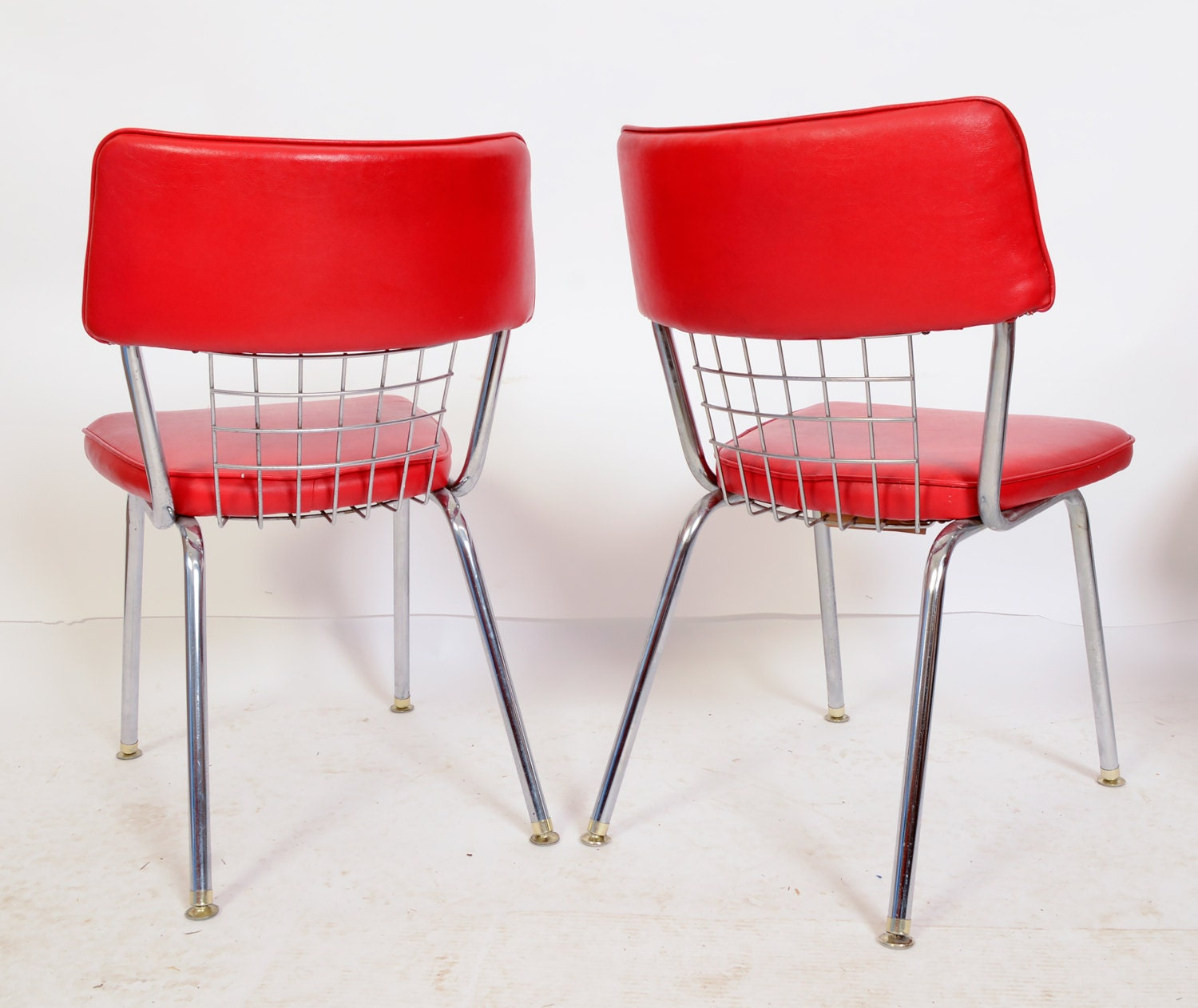 Red Dinette Set: Chrome Dinette Chairs Set Of 6 Red Seats Howell By
