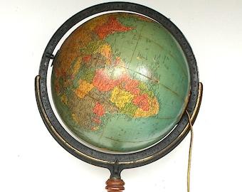 Vintage World Globe - Vintage Globe on Wooden Floor Stand - Vintage Replogle Globe - 1940s Globe Decor - Gustav Brueckmann Cartographer
