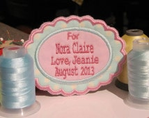 Quilt Label with Fun Scalloped Border and 2 Fabrics personalized for your special quilt or project