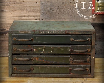 Vintage Industrial Spring Cabinet Jewelry Box Four Drawer Organizer Parts Chest