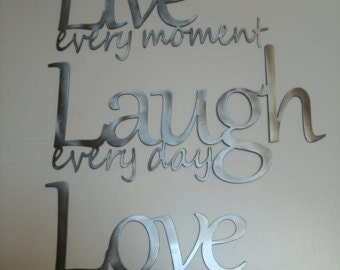 Extra Large Metal 3 piece Live Laugh Love wall decor