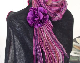 FLORAL FRINGE SCARF     Knotted      Fiber Art Scarf   by DawnaGirl     Fuchsia     Fringe Scarf    Purple tones