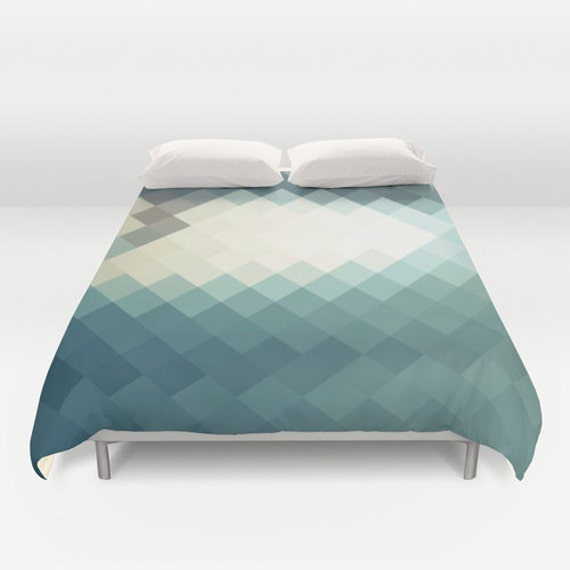 items similar to teal blue duvet cover triangle art geometric duvet light blue white decoration. Black Bedroom Furniture Sets. Home Design Ideas