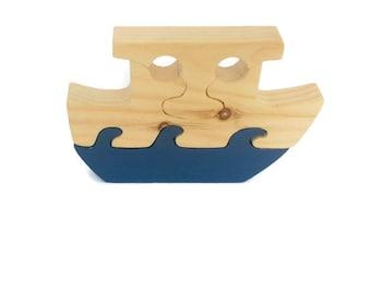 Kids Wooden Toys, 3 Piece Noah's Ark Wood Puzzle, Wooden Kids Puzzle
