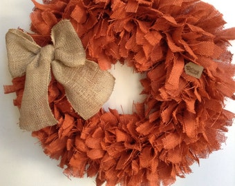 "Fall Burlap Wreath, 24"", Autumn Wreath, Orange Wreath, Fall Wreath, Autumn Wreath, Thanksgiving Wreath, Halloween Wreath"