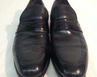 Men's Vintage Lyon's & Volpi Black Leather Italian Loafer's Size 10 AA (Narrow)